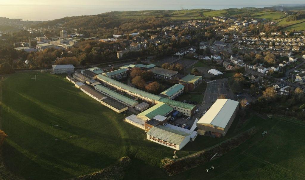 A drone view of Ysgol Penglais School, Aberystwyth